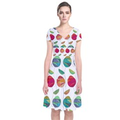 Watercolor Floral Roses Pattern Short Sleeve Front Wrap Dress