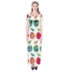 Watercolor Floral Roses Pattern Short Sleeve Maxi Dress