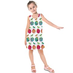 Watercolor Floral Roses Pattern Kids  Sleeveless Dress