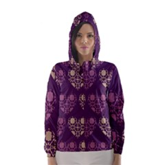Purple Hearts Seamless Pattern Hooded Wind Breaker (women)