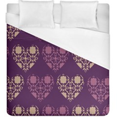 Purple Hearts Seamless Pattern Duvet Cover (king Size)