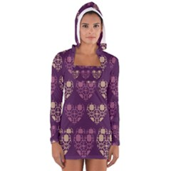 Purple Hearts Seamless Pattern Women s Long Sleeve Hooded T-shirt by Nexatart