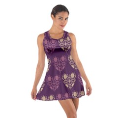 Purple Hearts Seamless Pattern Cotton Racerback Dress