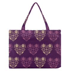 Purple Hearts Seamless Pattern Medium Zipper Tote Bag by Nexatart