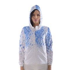 Blue Paint Splats Hooded Wind Breaker (women) by Nexatart