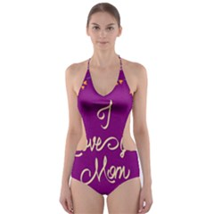 Happy Mothers Day Celebration I Love You Mom Cut-out One Piece Swimsuit by Nexatart