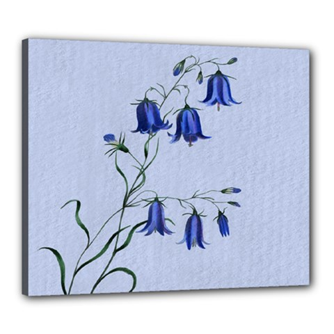Floral Blue Bluebell Flowers Watercolor Painting Canvas 24  X 20