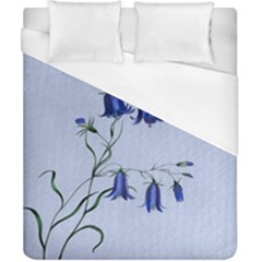 Floral Blue Bluebell Flowers Watercolor Painting Duvet Cover (california King Size) by Nexatart