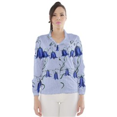 Floral Blue Bluebell Flowers Watercolor Painting Wind Breaker (women) by Nexatart