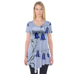 Floral Blue Bluebell Flowers Watercolor Painting Short Sleeve Tunic