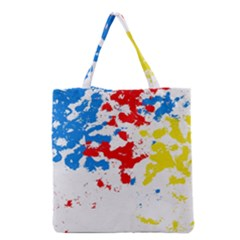Paint Splatter Digitally Created Blue Red And Yellow Splattering Of Paint On A White Background Grocery Tote Bag by Nexatart