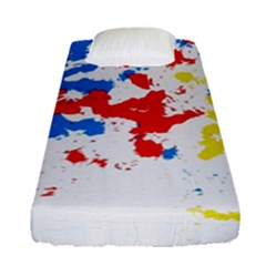 Paint Splatter Digitally Created Blue Red And Yellow Splattering Of Paint On A White Background Fitted Sheet (single Size) by Nexatart