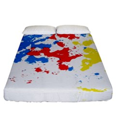 Paint Splatter Digitally Created Blue Red And Yellow Splattering Of Paint On A White Background Fitted Sheet (california King Size) by Nexatart