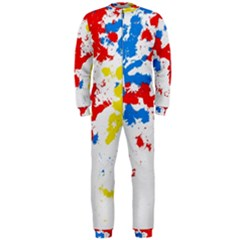 Paint Splatter Digitally Created Blue Red And Yellow Splattering Of Paint On A White Background Onepiece Jumpsuit (men)  by Nexatart