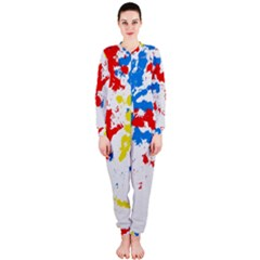 Paint Splatter Digitally Created Blue Red And Yellow Splattering Of Paint On A White Background Onepiece Jumpsuit (ladies)  by Nexatart