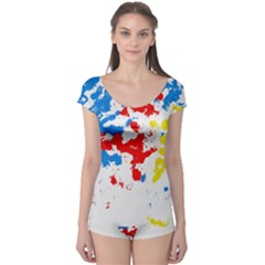 Paint Splatter Digitally Created Blue Red And Yellow Splattering Of Paint On A White Background Boyleg Leotard  by Nexatart