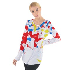 Paint Splatter Digitally Created Blue Red And Yellow Splattering Of Paint On A White Background Women s Tie Up Tee by Nexatart