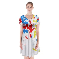 Paint Splatter Digitally Created Blue Red And Yellow Splattering Of Paint On A White Background Short Sleeve V Neck Flare Dress