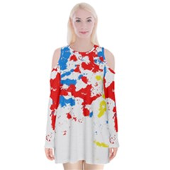 Paint Splatter Digitally Created Blue Red And Yellow Splattering Of Paint On A White Background Velvet Long Sleeve Shoulder Cutout Dress by Nexatart