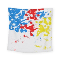 Paint Splatter Digitally Created Blue Red And Yellow Splattering Of Paint On A White Background Square Tapestry (small) by Nexatart