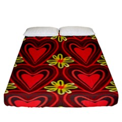 Digitally Created Seamless Love Heart Pattern Fitted Sheet (king Size) by Nexatart