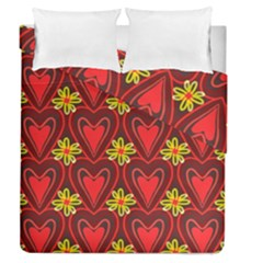 Digitally Created Seamless Love Heart Pattern Duvet Cover Double Side (queen Size)