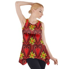 Digitally Created Seamless Love Heart Pattern Side Drop Tank Tunic