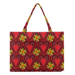 Digitally Created Seamless Love Heart Pattern Medium Tote Bag