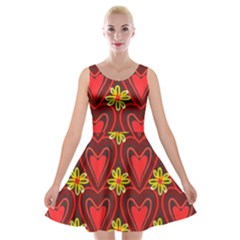 Digitally Created Seamless Love Heart Pattern Velvet Skater Dress
