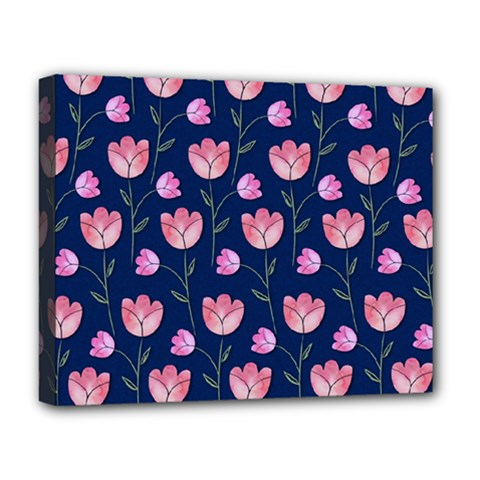 Watercolour Flower Pattern Deluxe Canvas 20  X 16   by Nexatart