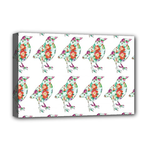 Floral Birds Wallpaper Pattern On White Background Deluxe Canvas 18  X 12   by Nexatart