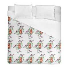 Floral Birds Wallpaper Pattern On White Background Duvet Cover (full/ Double Size) by Nexatart