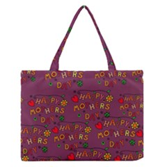 Happy Mothers Day Text Tiling Pattern Medium Zipper Tote Bag