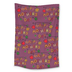 Happy Mothers Day Text Tiling Pattern Large Tapestry by Nexatart