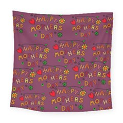 Happy Mothers Day Text Tiling Pattern Square Tapestry (large) by Nexatart
