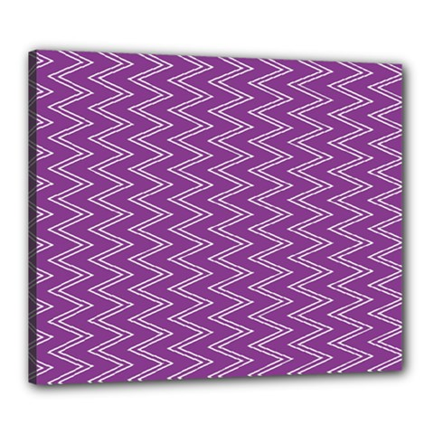 Purple Zig Zag Pattern Background Wallpaper Canvas 24  X 20  by Nexatart
