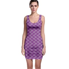 Purple Zig Zag Pattern Background Wallpaper Sleeveless Bodycon Dress