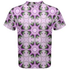 Pretty Pink Floral Purple Seamless Wallpaper Background Men s Cotton Tee