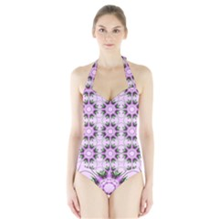 Pretty Pink Floral Purple Seamless Wallpaper Background Halter Swimsuit
