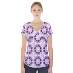 Pretty Pink Floral Purple Seamless Wallpaper Background Short Sleeve Front Detail Top