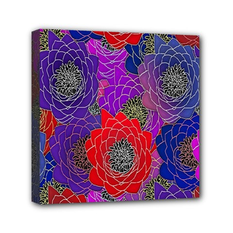 Colorful Background Of Multi Color Floral Pattern Mini Canvas 6  X 6