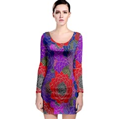 Colorful Background Of Multi Color Floral Pattern Long Sleeve Bodycon Dress