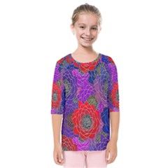Colorful Background Of Multi Color Floral Pattern Kids  Quarter Sleeve Raglan Tee
