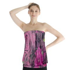 Oil Painting Flowers Background Strapless Top