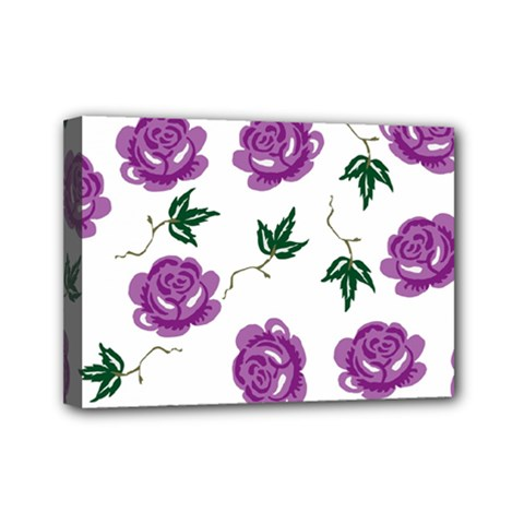 Purple Roses Pattern Wallpaper Background Seamless Design Illustration Mini Canvas 7  X 5