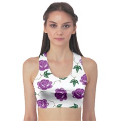 Purple Roses Pattern Wallpaper Background Seamless Design Illustration Sports Bra