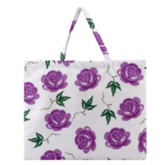 Purple Roses Pattern Wallpaper Background Seamless Design Illustration Zipper Large Tote Bag by Nexatart