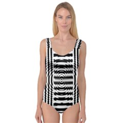 Black And White Abstract Stripped Geometric Background Princess Tank Leotard