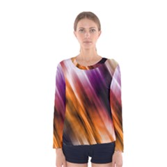 Colourful Grunge Stripe Background Women s Long Sleeve Tee by Nexatart