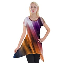 Colourful Grunge Stripe Background Short Sleeve Side Drop Tunic